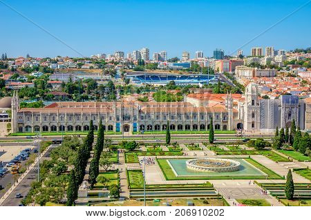 Lisbon aerial view. Panorama of Hieronymites Monastery or Mosteiro dos Jeronimos from Discoveries Monument or Padrao dos Descobrimentos platform. Belem District, Lisbon, Portugal, Europe.
