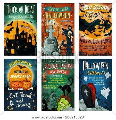 Halloween holiday spooky party invitation poster. Halloween pumpkin, horror ghost, bat and witch, haunted house, cemetery grave, spooky skeleton and zombie, black cat and full moon retro banner design