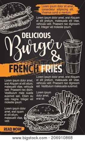 Burger and fries menu fast food sketch poster template for restaurant or cinema bistro. Vector fastfood cheeseburger or hamburger and fried potato combo with soda or coffee drink