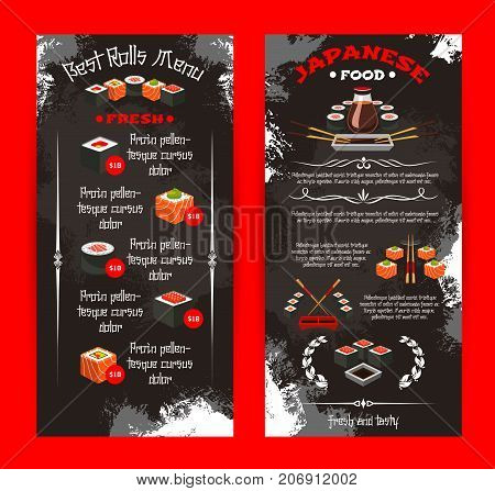 Sushi restaurant or Japanese cuisine bar menu template. Vector price set of fish sushi rolls, rice and salmon tobiko, eel or tuna sashimi and ramen noodles soup, Japanese tea, chopsticks and soy sauce