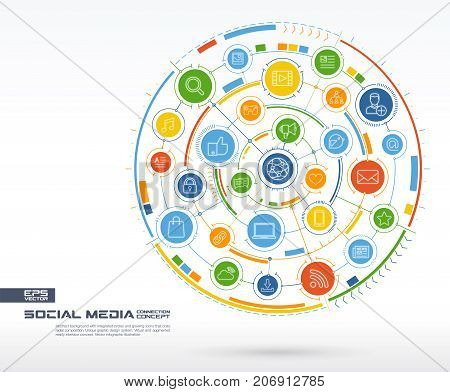 Abstract Social Media background. Digital connect system with integrated circles, glowing thin line icons. Network system group, interface concept. Vector future infographic illustration
