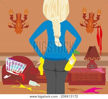 Housewife cleaning at home , vector illustration