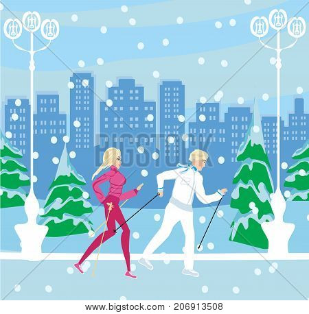 Couple and Nordic walking in winter , vector illustration