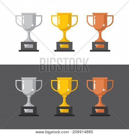 Gold silver and bronze winner cups icons in flat style isolated on white and black backgrounds. First second and third place win symbol.