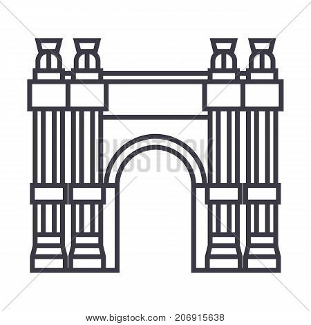 triumphal arch vector line icon, sign, illustration on white background, editable strokes