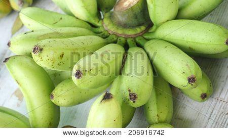 Thai Pisang Awak banana on sale at street shop Macro and close up photo full frame.