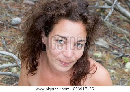 Bright Picture Of Healthy Naked Brunette Woman On Seaside