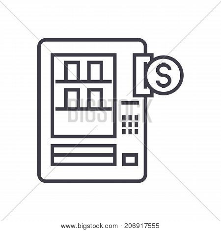 vending machines vector line icon, sign, illustration on white background, editable strokes