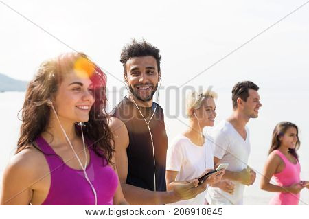 Group Of Young People Running On Beach Happy Smiling, Mix Race Sport Runners Jogging Working Out Fitness, Fit Women And Men Joggers Multiracial Team