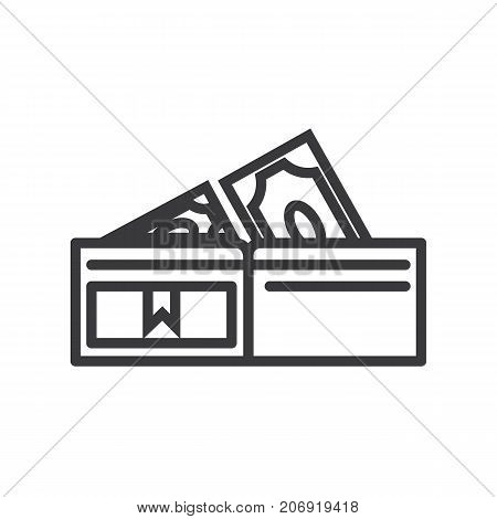 wallet with banknotes vector line icon, sign, illustration on white background, editable strokes