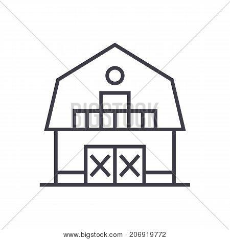 warehouse, farm, barn vector line icon, sign, illustration on white background, editable strokes