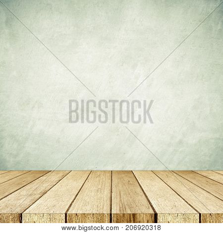 Empty perspective wood and green cement wall background room table top shelf for product display montage background mock up vintage style