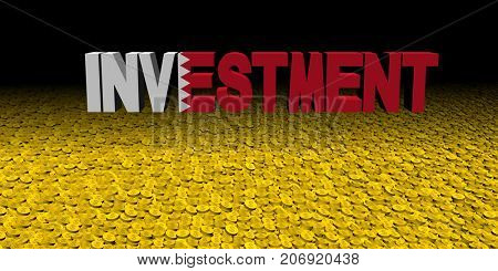 Investment text with Bahrain flag on coins 3d illustration