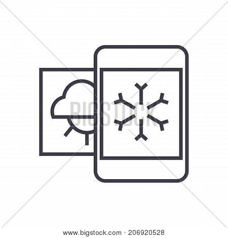 weather, mobile smartphone vector line icon, sign, illustration on white background, editable strokes