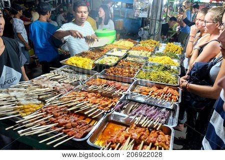 Gili Trawangan Indonesia - September 11 2017: Street food stall at Trawangan Night Market