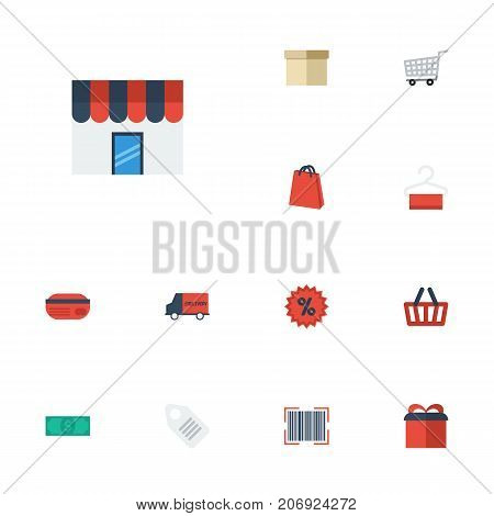 Flat Icons Trolley, Bag, Bus And Other Vector Elements
