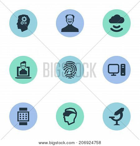 Elements Unique Key, Scholar, Smart Watch And Other Synonyms Cloud, Device And Internet.  Vector Illustration Set Of Simple Creative Icons.