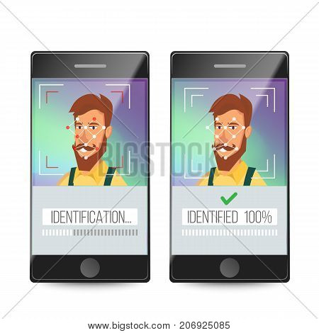 Biometric Facial Identification Vector. Mobile App For Face Recognition. High-tech Technology Illustration