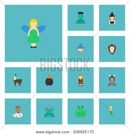 Flat Icons Goblin, Wizard, Mythology And Other Vector Elements