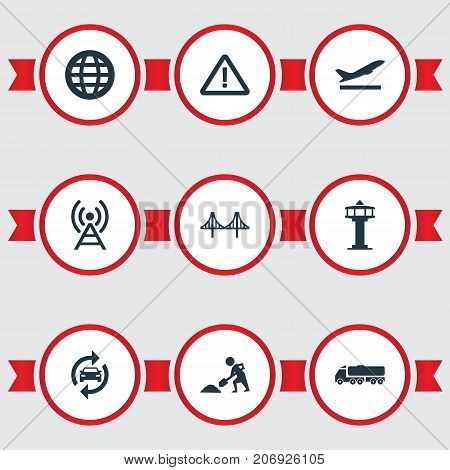 Elements Reconstruction, Radio Tower, Airport And Other Synonyms Works, Departure And Warn.  Vector Illustration Set Of Simple Public Icons.