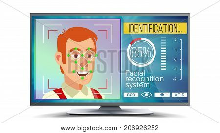 Face Recognition And Identification Vector. Face Recognition Technology. Face On Screen. Human Face With Polygons And Points. Scanning Security