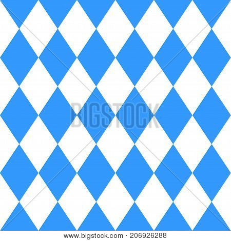 Seamless abstract geometric argyl pattern. Vector illustration for October festival, traditional blue and white background colors. For banner, print, promotion, flyer, poster.