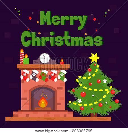 Christmas card with fireplace and Christmas socks. Stock vector.
