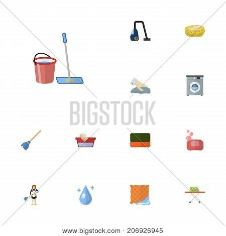 Flat Icons Laundromat, Aqua, Housewife And Other Vector Elements