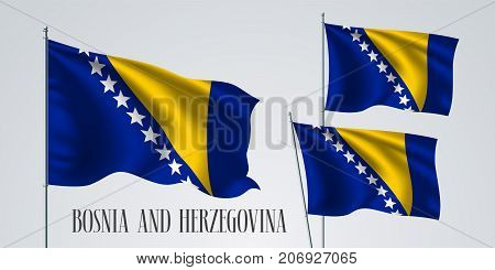Bosnia and Herzegovina waving flag set of vector illustration. Blue and yellow colors of Bosnian wavy realistic flag as a patriotic symbol