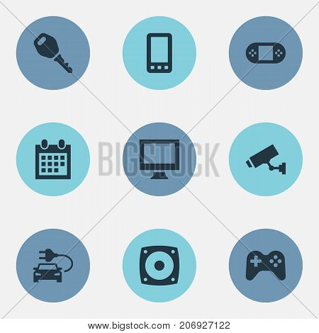 Elements Protection, Monitor, Game Controller And Other Synonyms Gamepad, Monitor And Joystick.  Vector Illustration Set Of Simple Device Icons.