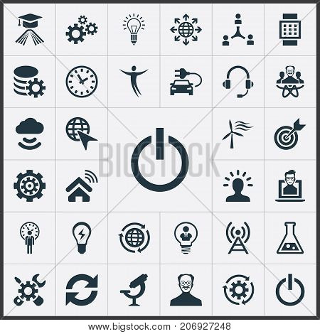 Elements Optical Instrument, Broadcast, Change And Other Synonyms Physicist, Reload And Flask.  Vector Illustration Set Of Simple Invention Icons.