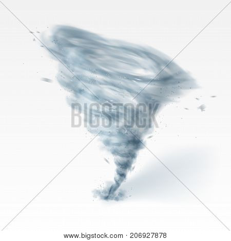Realistic Tornado Swirl Isolated On White Background. EPS10 Vector