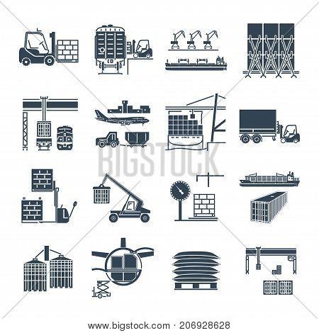 set of black icons air sea rail freight terminal storage