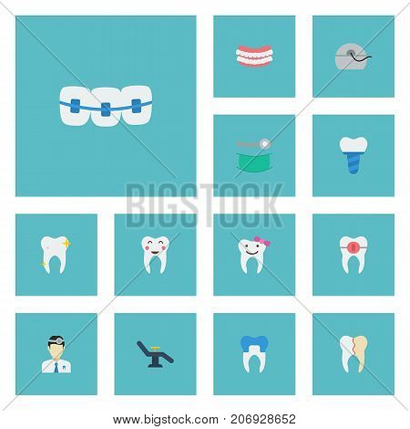 Flat Icons Treatment, Halitosis, Children Dentist And Other Vector Elements
