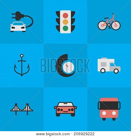 Elements Traffic Lights, Speedometer, Autobus And Other Synonyms Delivery, Iron And Lighter.  Vector Illustration Set Of Simple Traffic Icons.