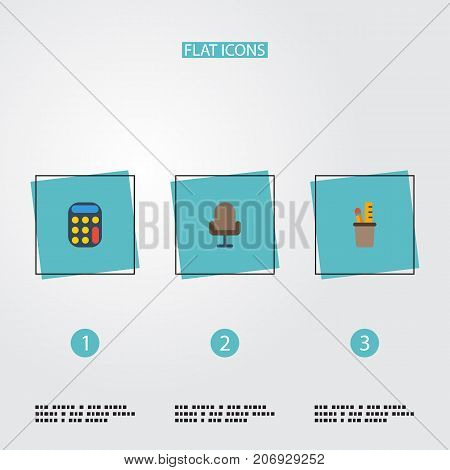 Flat Icons Pen Holder, Armchair, Calculate And Other Vector Elements