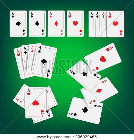 Casino Poker Cards Vector. Classic Playing Gambling Cards Realistic