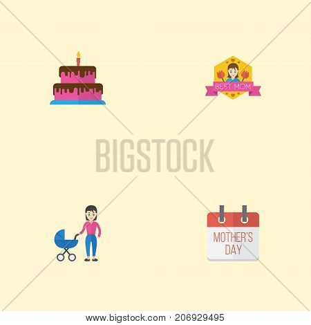 Happy Mother's Day Flat Icon Layout Design With Stroller, Special Day And Best Mother Ever Symbols