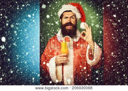 Smiling Bearded Santa Claus Man