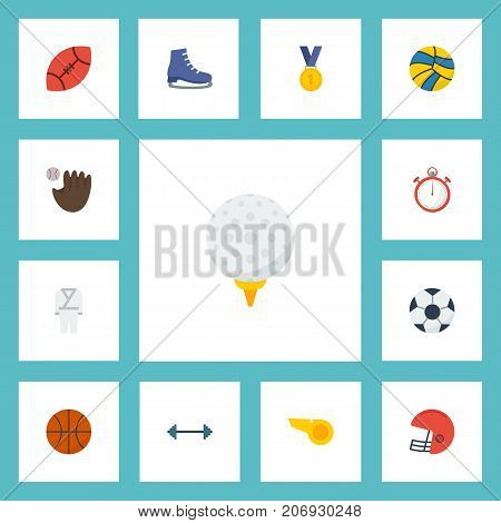 Flat Icons Kettlebells, Ice Boot, American Football And Other Vector Elements