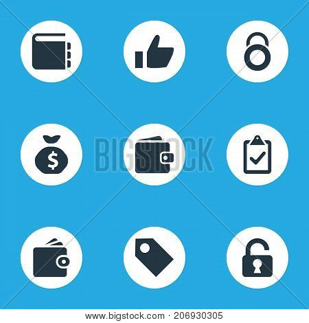 Elements Padlock, Like, Security And Other Synonyms Textbook, Badge And Padlock.  Vector Illustration Set Of Simple Financial Icons.