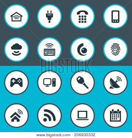 Elements Network, Protection, Wireless Connection And Other Synonyms Controller, Network And Keyboard.  Vector Illustration Set Of Simple Internet Icons.