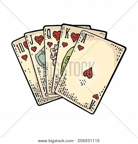 Royal flush in hearts. Playing cards poker. Vector color vintage engraving illustration for poster, label, banner, web. Isolated on white background