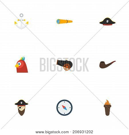 Flat Icons Corsair, Tobacco, Armature And Other Vector Elements