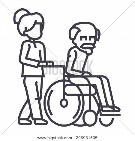 young woman, social worker, strolling with elder man in wheelchair vector line icon, sign, illustration on white background, editable strokes