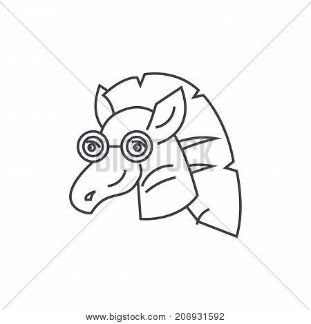 zebra vector line icon, sign, illustration on white background, editable strokes