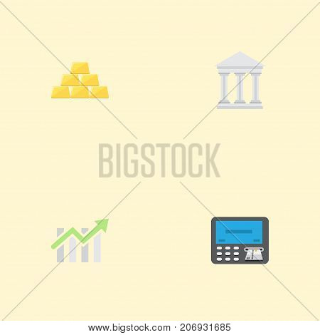Flat Icons Bar Diagram, Ingot, Bank And Other Vector Elements