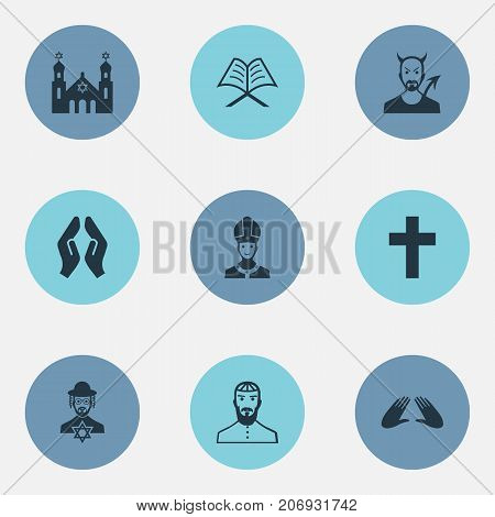 Elements Pontiff, Devil, Temple And Other Synonyms Pater, Praying And God.  Vector Illustration Set Of Simple Faith Icons.