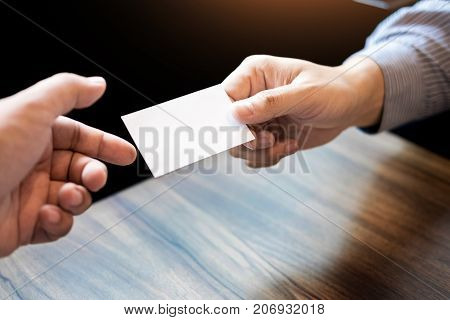 Business Executive Man Exchanging Business Card For Start Good Connection With Partner