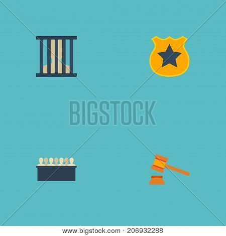 Flat Icons Officer Emblem, Judge Gavel, Jury And Other Vector Elements